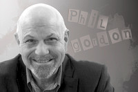 Phil Gordon 15 with grey background and text B&W
