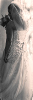 Back of Emily's wedding dress vintage b&w